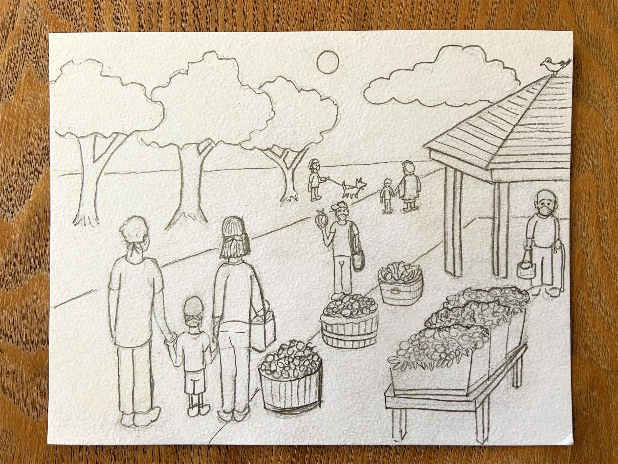 Sketch of a family at an outdoor market surrounded by fruit baskets