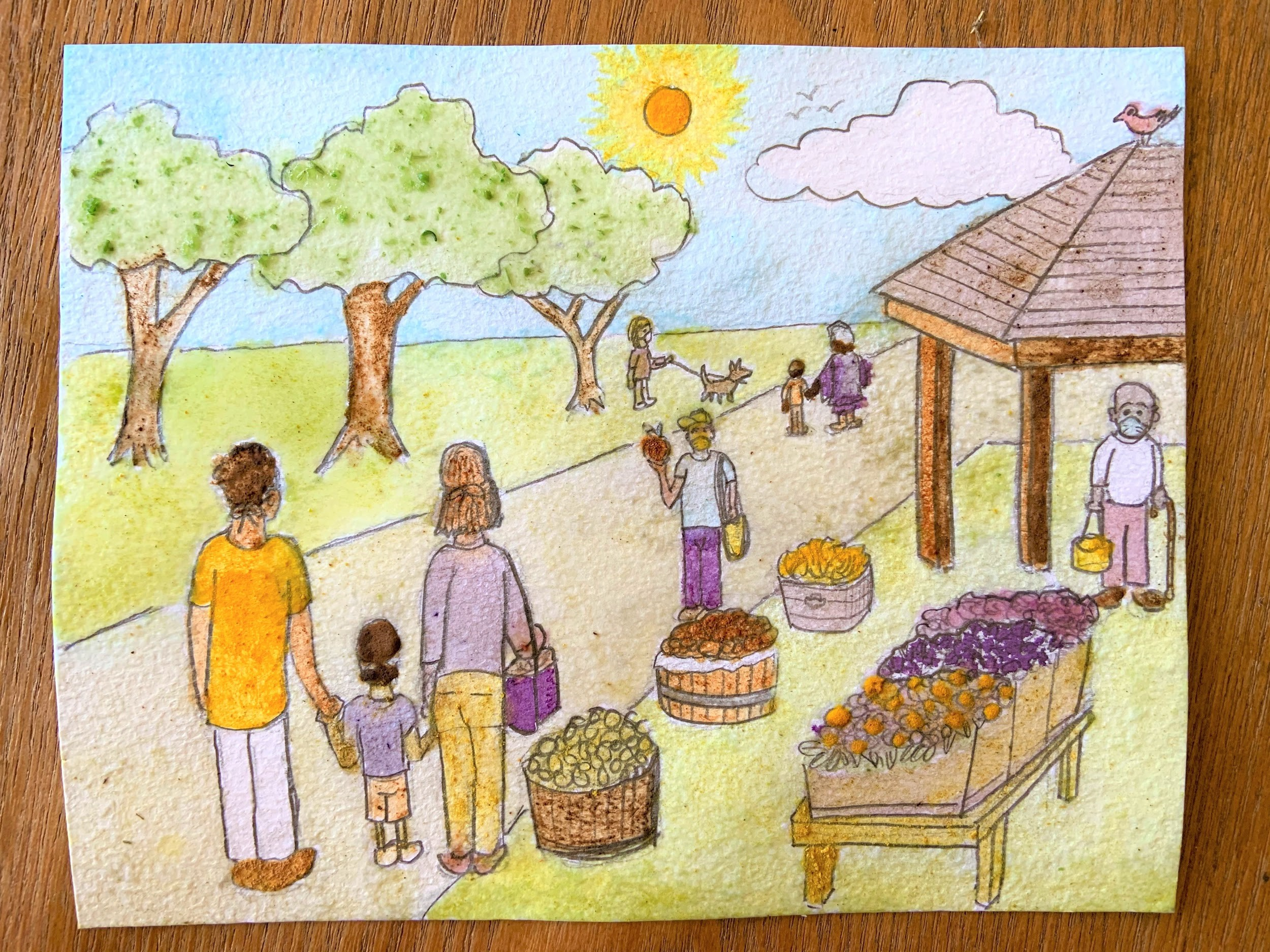 Colored-in sketch of a family at an outdoor market surrounded by fruit baskets