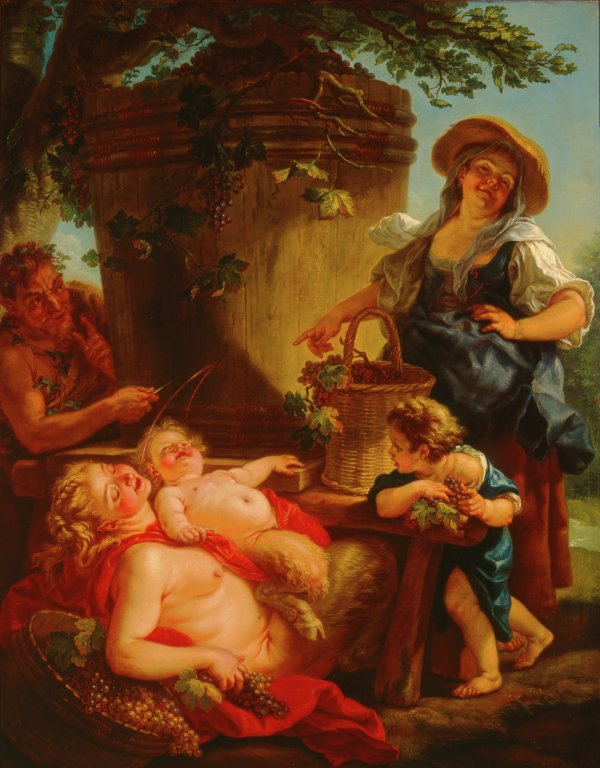 Two women and two children eating grapes while a satyr watches