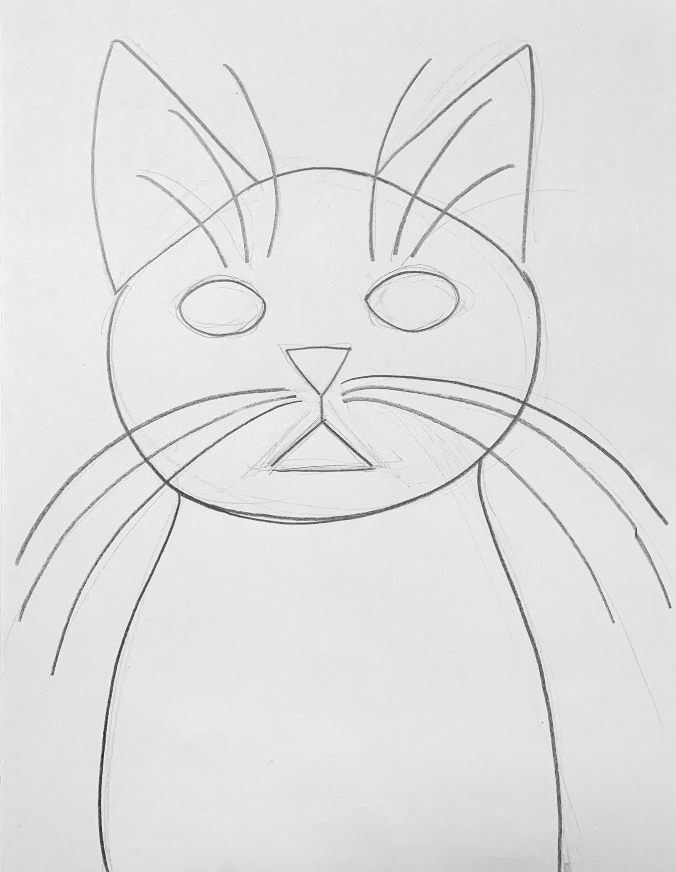 Simple sketch of the upper body of a cat facing forward