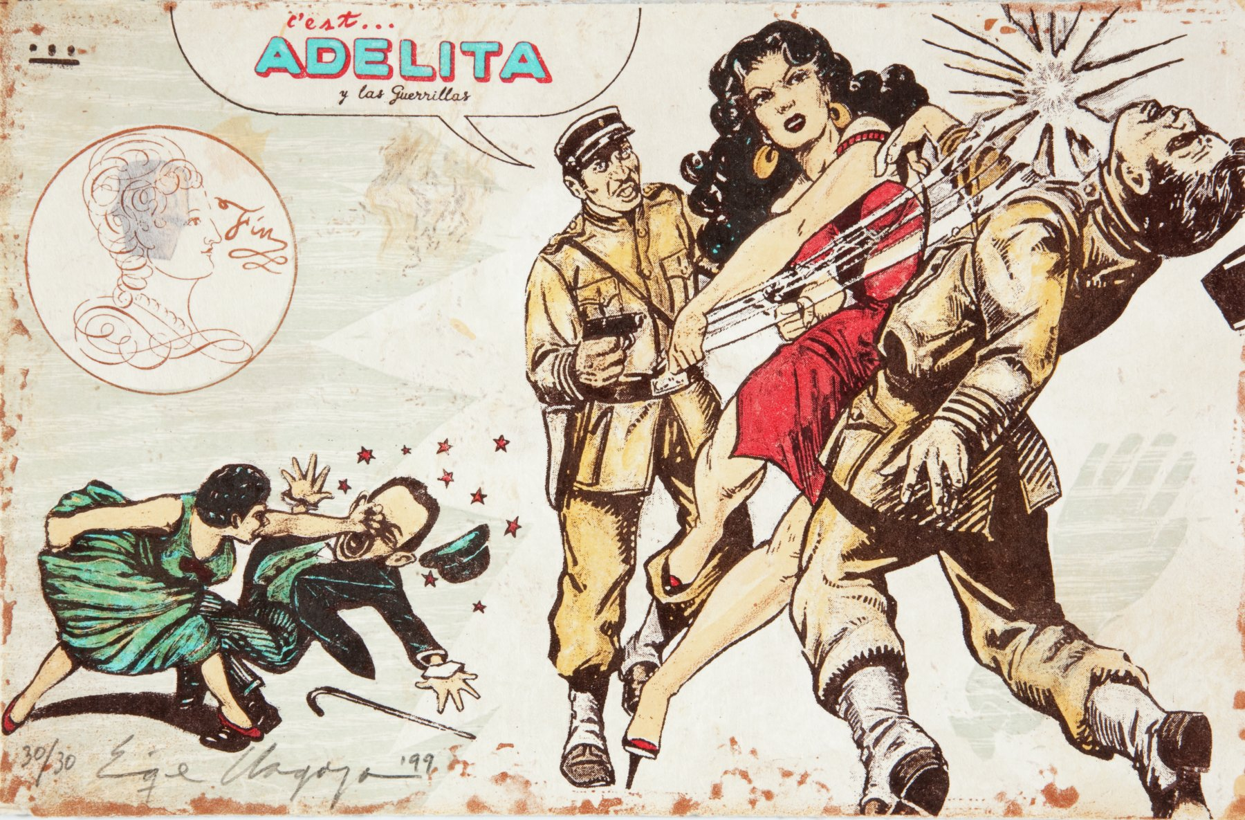 Woman in a short red dress and heels punching a man in a uniform