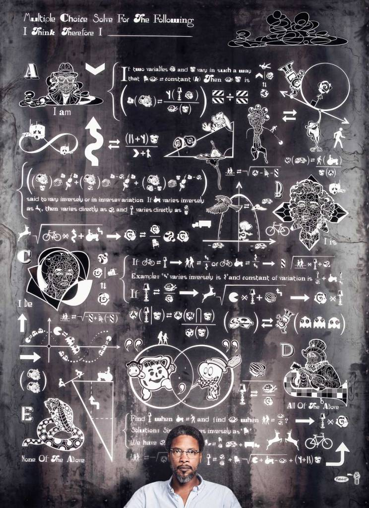 Man sitting in front of a chalkboard of doodles and mathematical equations