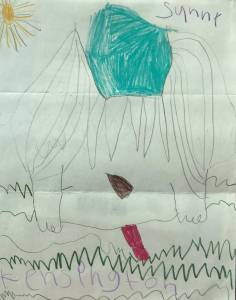 Child's replica of Sunny artwork with his tongue hanging low