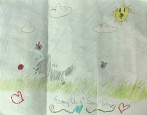 Child's drawing of a dog resembling Sunny walking through a field on a sunny day