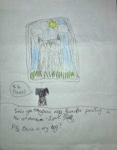 Child's drawing of her dog looking at the artwork Sunny at the Museum