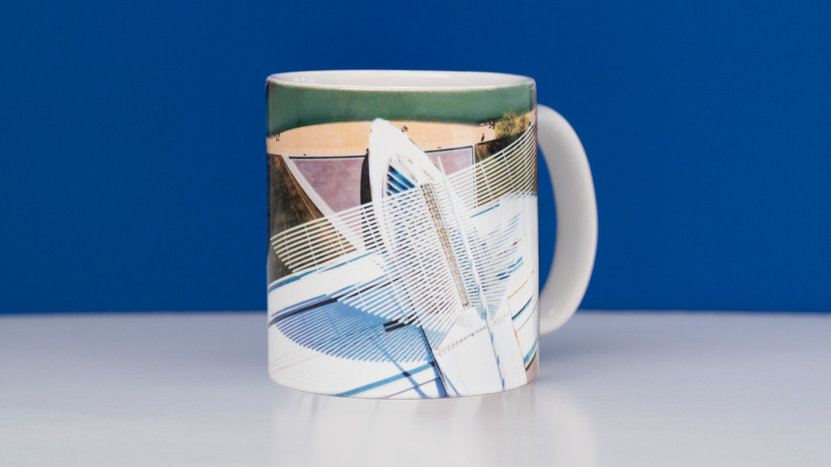 Mug featuring an aerial view of the Museum's wings along the lakefront
