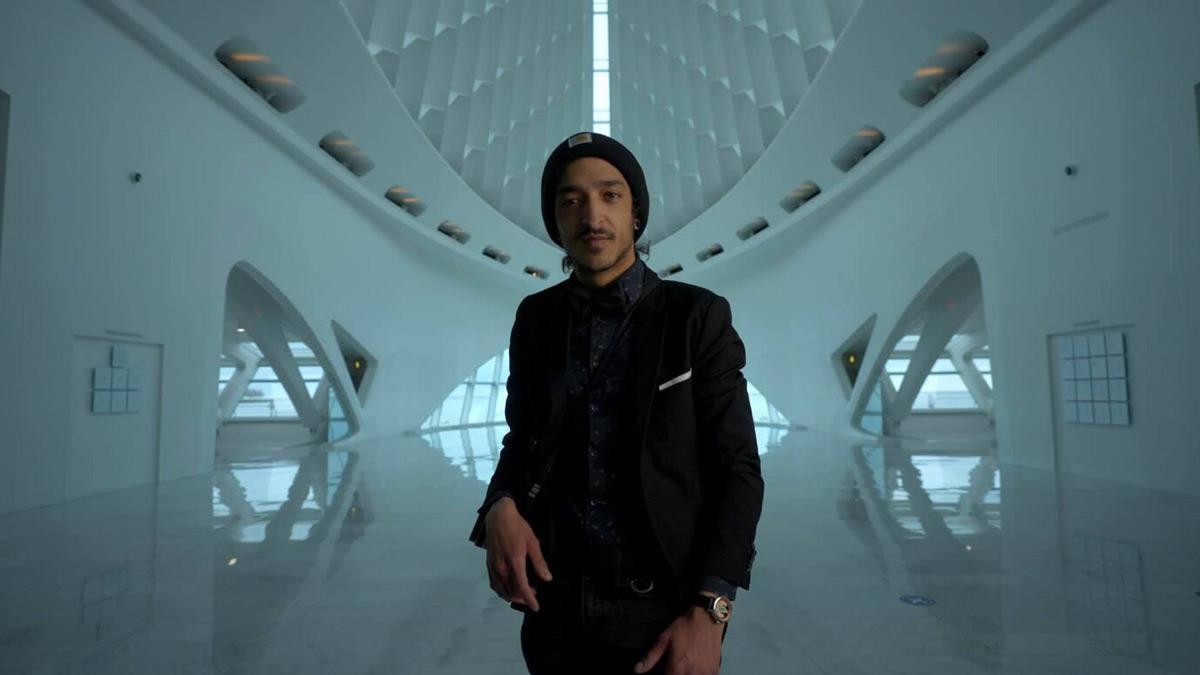 Samer Ghani standing in Windhover Hall
